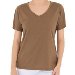 Time and Tru Essential V-Neck T-Shirt Tan Brown